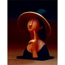 Sculptuur Jeanne Hébuterne met grote strooien hoed